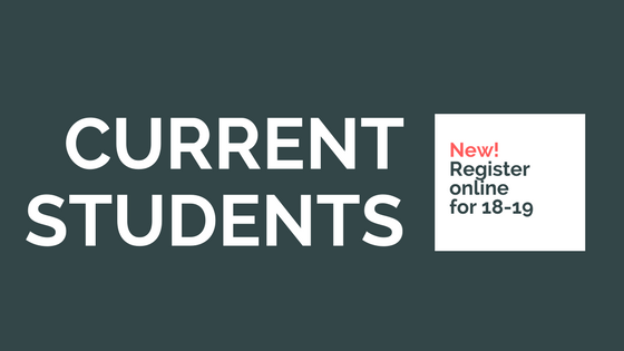 Current students can register online for 2018-19