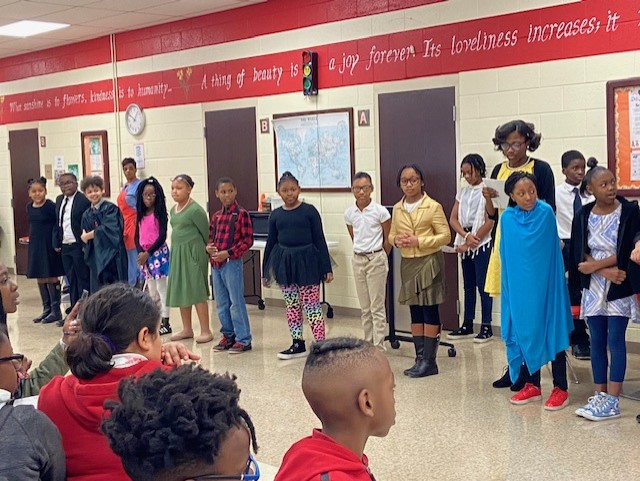 Students dressed as famous African Americans