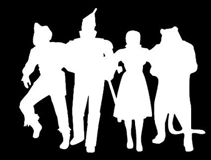 Silhouette of Dorothy, Scarecrow, Lion, and Tinman from the Wizard of Oz