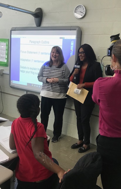 Mrs. Davis is surprised with the award of WBBJTV's Educator of the Week!