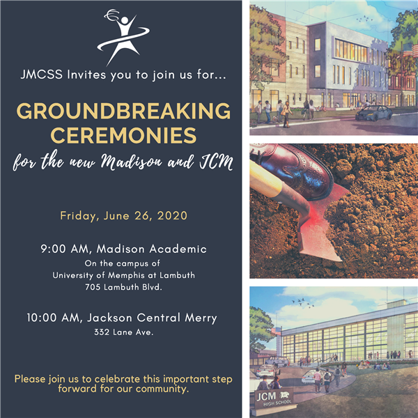 JCM Invites you to join us for groundbreaking ceremonies at JCM and Madison construction sites on June 26 at 9:00 a.m.