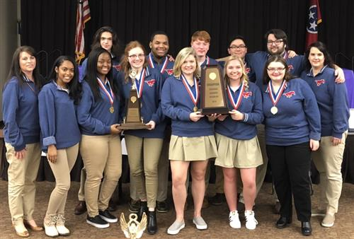 Madison Academic Decathlon Team With State Championship Trophy