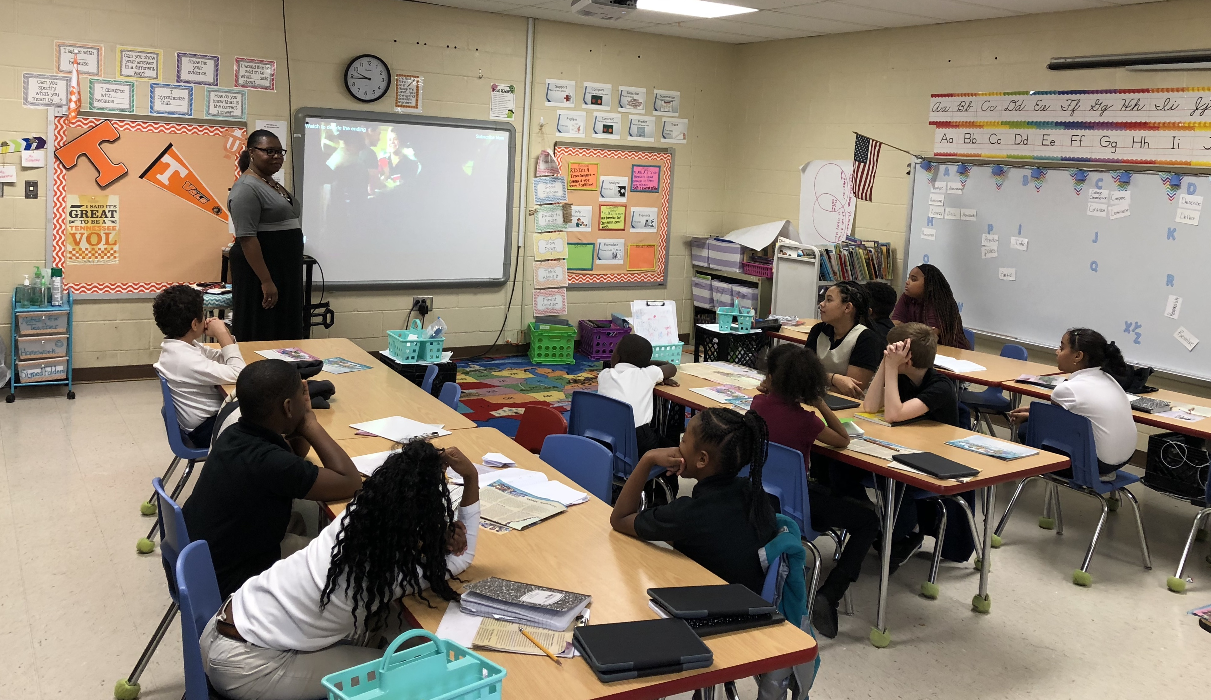 Students in guidance classroom with Andrew Jackson's school counselor.