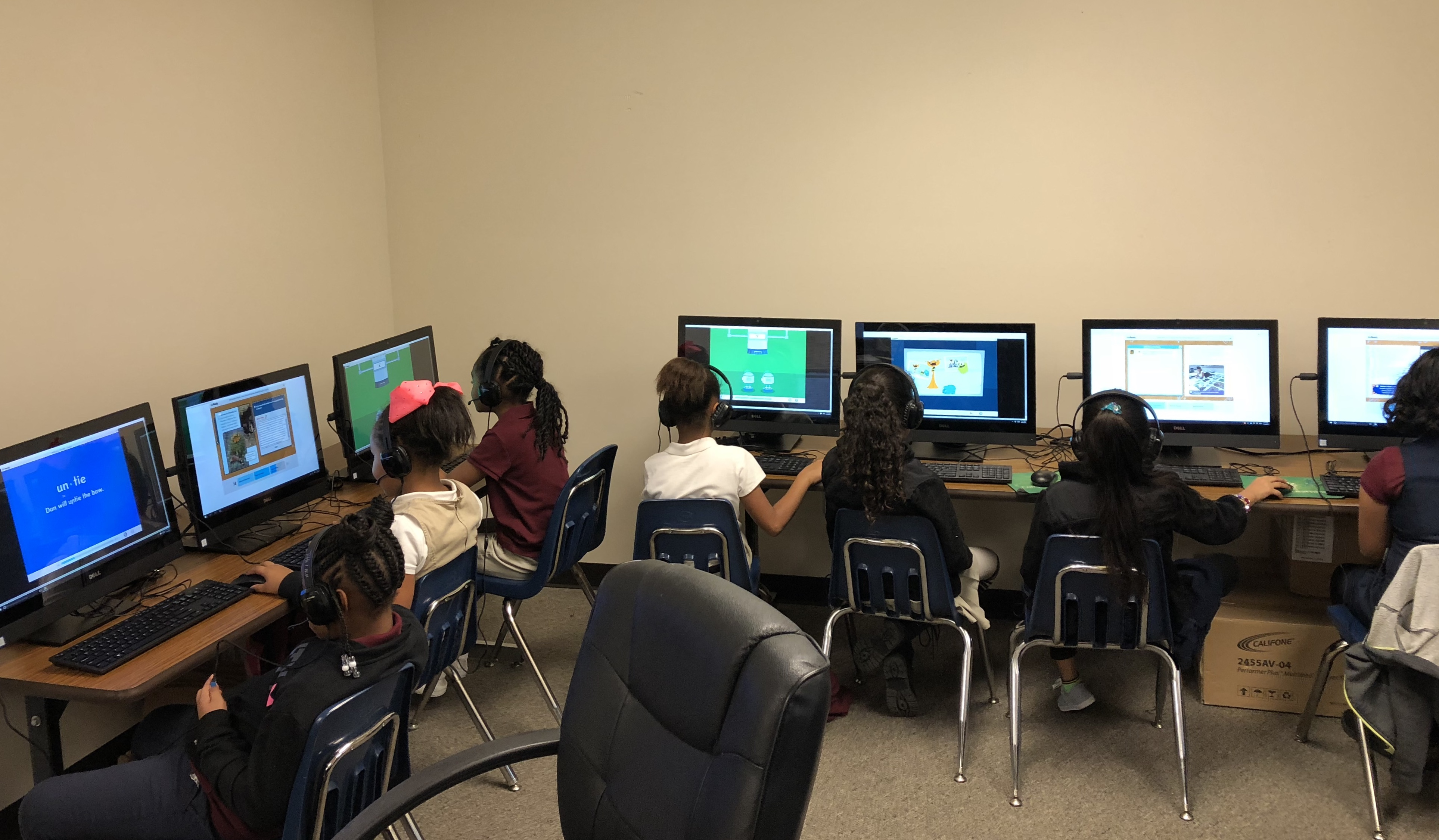 Students work in computer class at Andrew Jackson